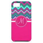 Zigzag tribal rosado azul de Chevron del trullo de iPhone 5 Protector