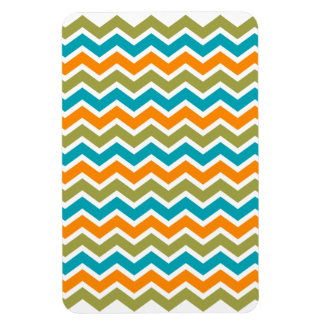 Zigzag tribal vibrante del pavo real imanes rectangulares