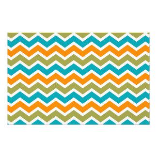 Zigzag tribal vibrante del pavo real papelería de diseño