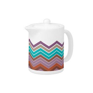 Zigzag Tropical Colors Tea Pot