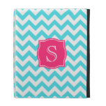 Zigzag Turquoise and Pink Custom Monogram iPad Folio Case