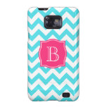 Zigzag Turquoise and Pink Custom Monogram Samsung Galaxy S2 Cover