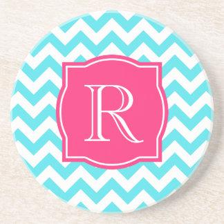 Zigzag Turquoise and Pink Custom Monogram Coaster