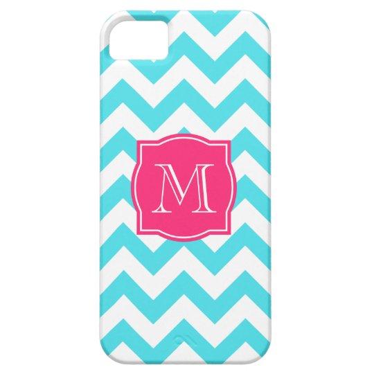 Zigzag Turquoise and Pink Custom Monogram iPhone SE/5/5s Case