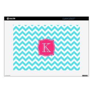 Zigzag Turquoise and Pink Custom Monogram Laptop Decals