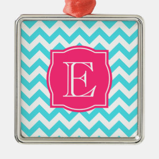 Zigzag Turquoise and Pink Custom Monogram Metal Ornament