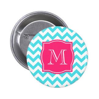 Zigzag Turquoise and Pink Custom Monogram Pinback Button