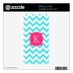 Zigzag Turquoise and Pink Custom Monogram Skin For The iPhone 4