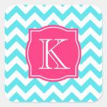 Zigzag Turquoise and Pink Custom Monogram Sticker