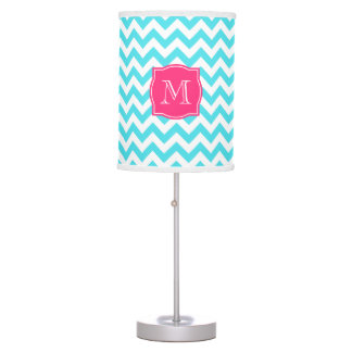 Zigzag Turquoise and Pink Custom Monogram Table Lamp