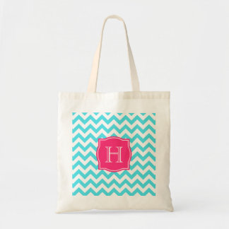 Zigzag Turquoise and Pink Custom Monogram Tote Bag