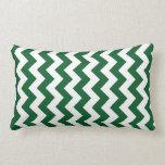 Zigzag verde y blanco cojin