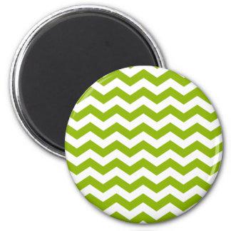 Zigzag verde y blanco imán redondo 5 cm