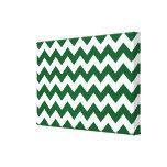 Zigzag verde y blanco impresión en lienzo estirada