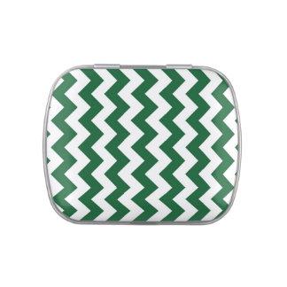 Zigzag verde y blanco latas de caramelos