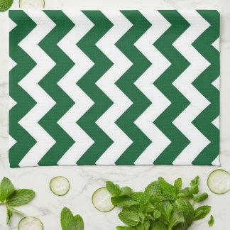 Zigzag verde y blanco toallas