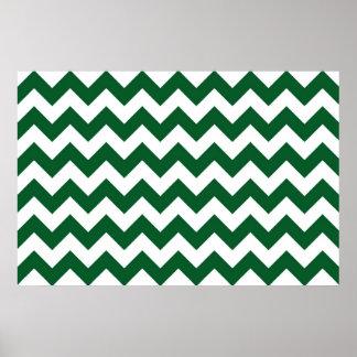 Zigzag verde y blanco póster