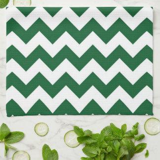 Zigzag verde y blanco toallas de cocina