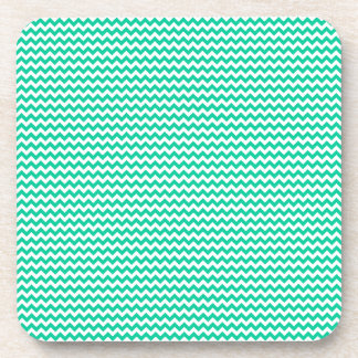Zigzag - White and Caribbean Green Coaster