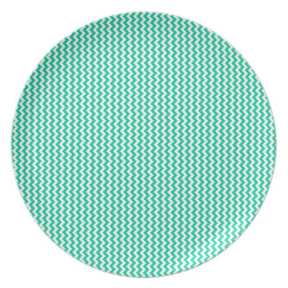 Zigzag - White and Caribbean Green Party Plate