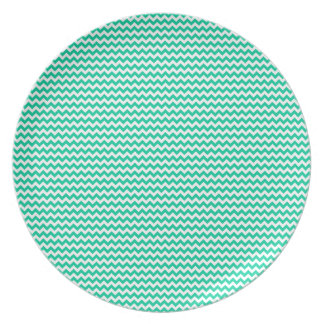 Zigzag - White and Caribbean Green Dinner Plates