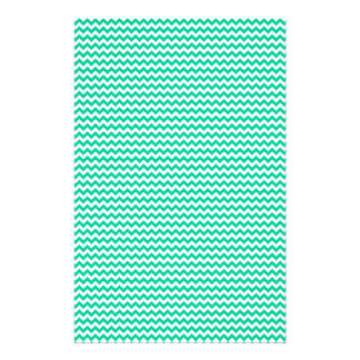 Zigzag - White and Caribbean Green Customized Stationery