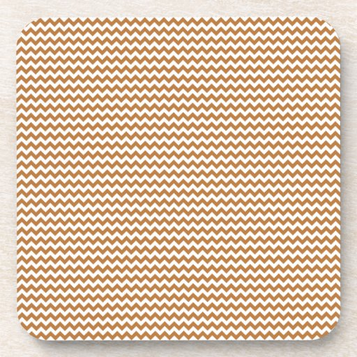 Zigzag - White and Copper Beverage Coasters