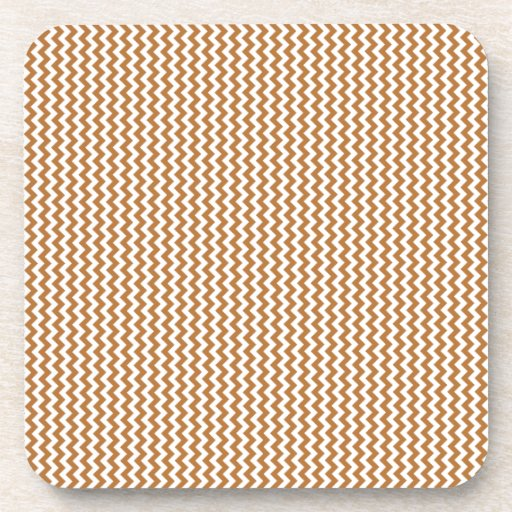 Zigzag - White and Copper Drink Coasters