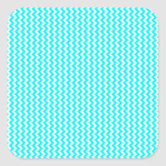Zigzag - White and Cyan Square Stickers