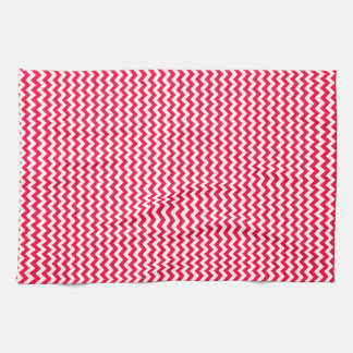 Zigzag - White and Electric Crimson Towels