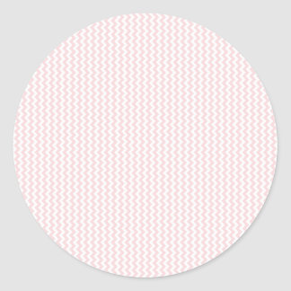 Zigzag - White and Pale Pink Classic Round Sticker