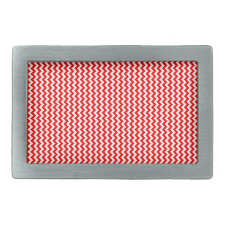 Zigzag - White and Red Rectangular Belt Buckle