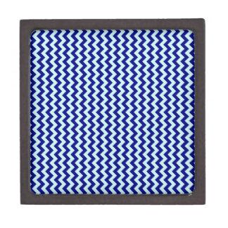 Zigzag Wide - Pale Blue and Navy Blue Premium Trinket Boxes