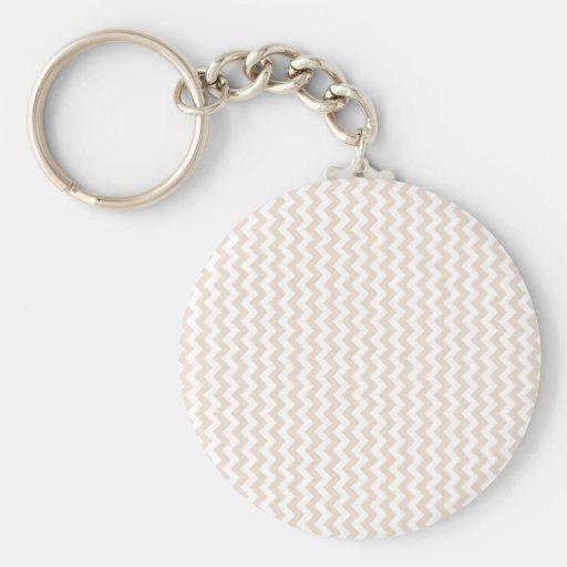 Zigzag Wide  - White and Almond Keychain