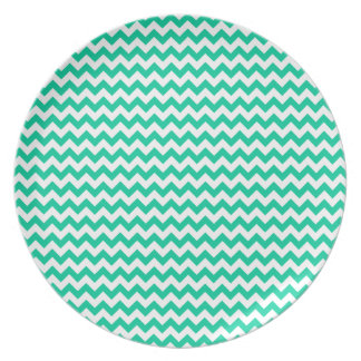 Zigzag Wide - White and Caribbean Green Plate