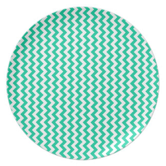 Zigzag Wide - White and Caribbean Green Party Plate