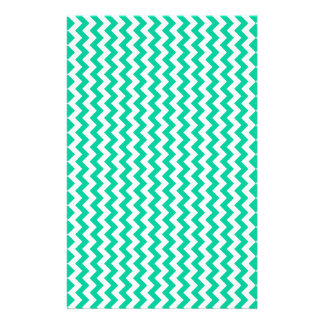 Zigzag Wide  - White and Caribbean Green Stationery Design