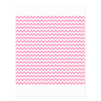 Zigzag Wide  - White and Carnation Pink Postcard