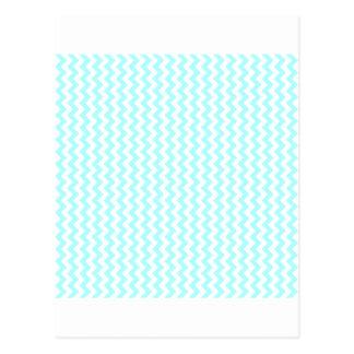 Zigzag Wide  - White and Celeste Postcard