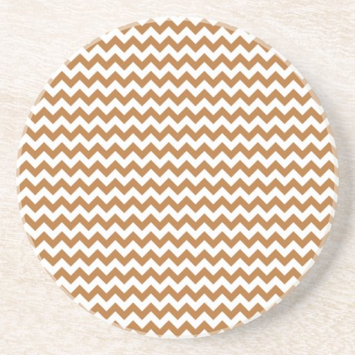 Zigzag Wide  - White and Copper Drink Coasters