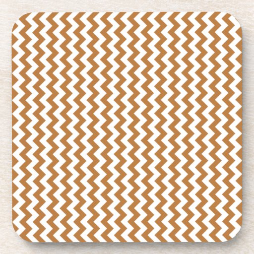 Zigzag Wide  - White and Copper Beverage Coasters