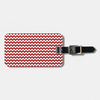 Zigzag Wide  - White and Dark Candy Apple Red Luggage Tag