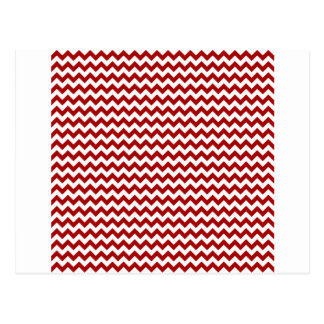 Zigzag Wide  - White and Dark Candy Apple Red Postcard
