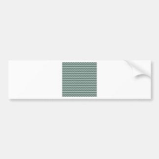 Zigzag Wide  - White and Dark Green Bumper Sticker