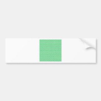 Zigzag Wide  - White and Dark Pastel Green Bumper Stickers