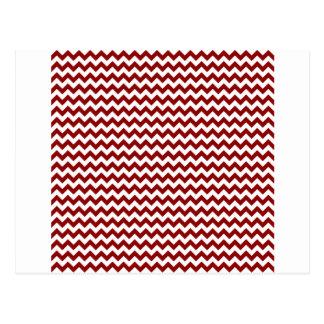Zigzag Wide  - White and Dark Red Postcard