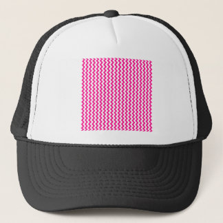 Zigzag Wide  - White and Deep Pink Trucker Hat