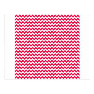 Zigzag Wide  - White and Electric Crimson Postcard
