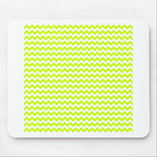 Zigzag Wide  - White and Fluorescent Yellow Mouse Pad