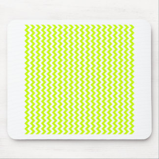Zigzag Wide  - White and Fluorescent Yellow Mouse Pads